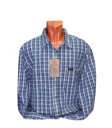 Рубашка джинсовая в клетку