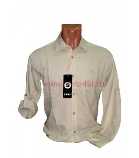 Рубашка льняная с подворачиваемыми рукавами