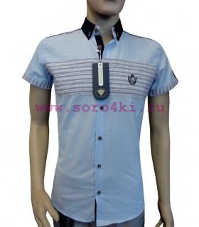 Хлопковая голубая рубашка