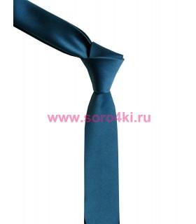 Синий узкий галстук